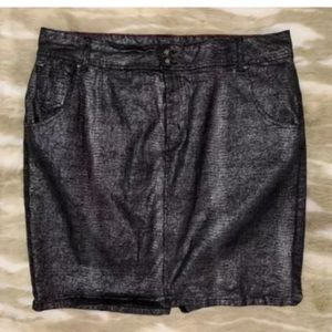 LANE BRYANT Silver Black Snakeprint Stretch Skirt